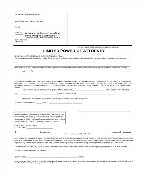 Power Of Attorney Form Template