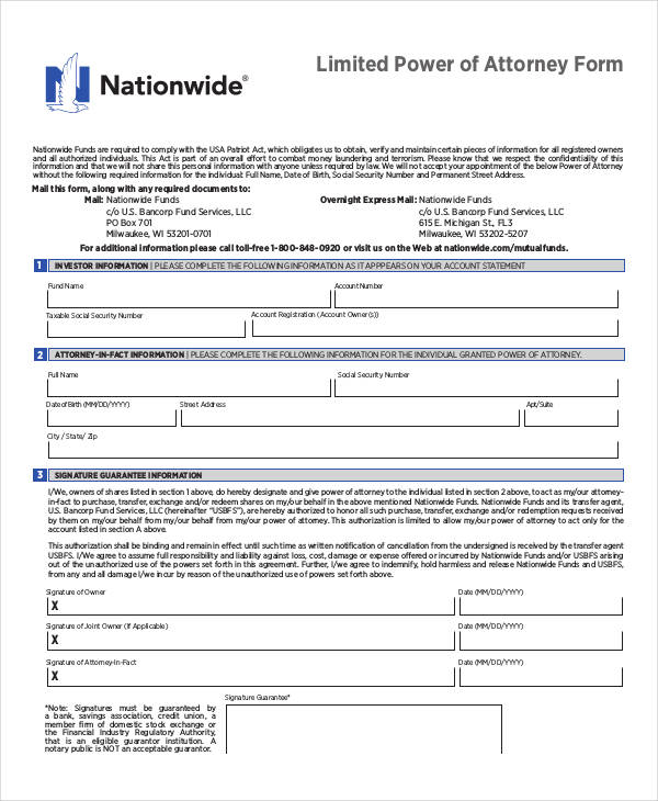 free limited power of attorney form2