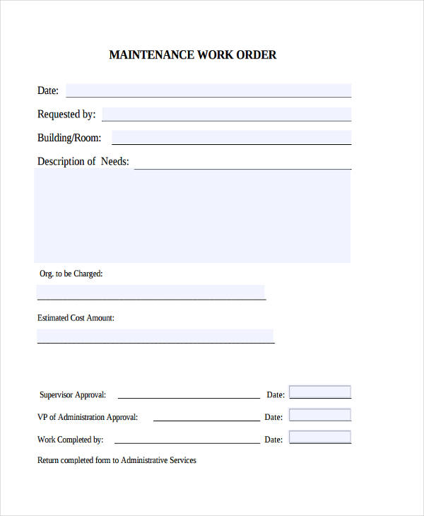 maintenance work order form - Template