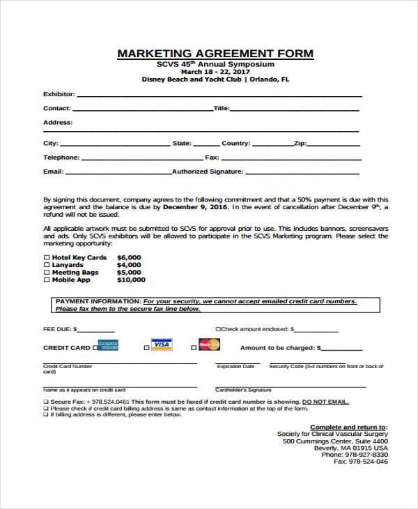 Marketing Agreement Form Samples  Free Sample Example Format