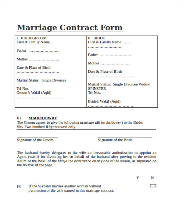Contract Forms In Doc