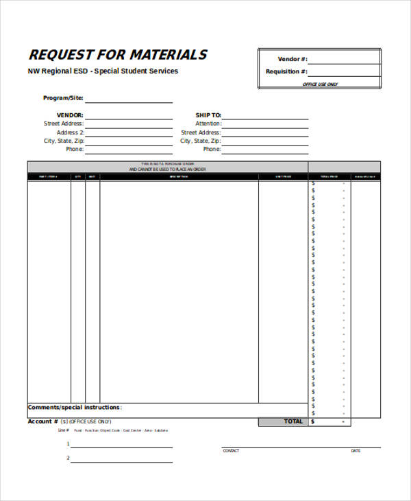 free material request form