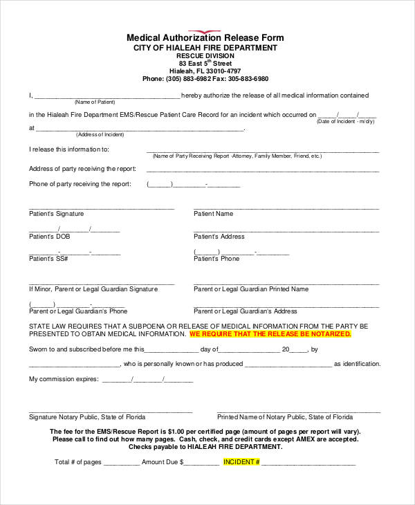 Free Medical Authorization Release Form