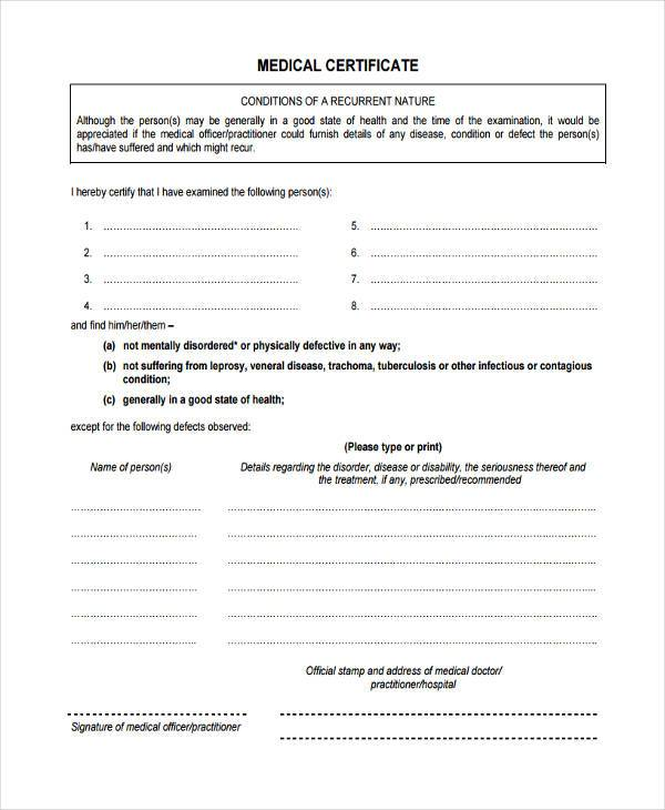Certificate Forms In Pdf