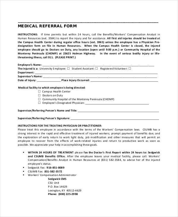 free medical referral form
