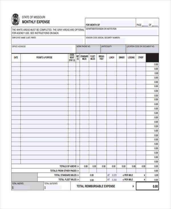 Expense Report Form  WowcircleTk