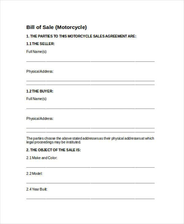 Bill of Sale Form in Word – Motorcycle Bill of Sales