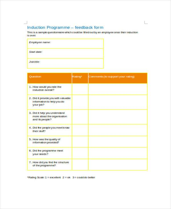 sample new joinee feedback forms
