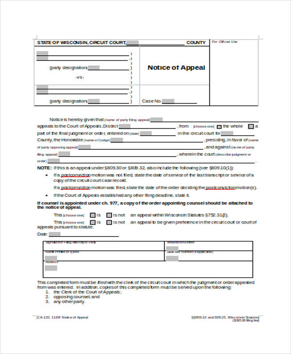 Free Notice Of Appeal Form