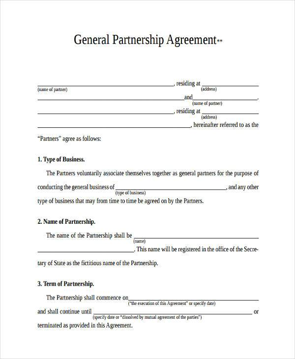 free partnership agreement form