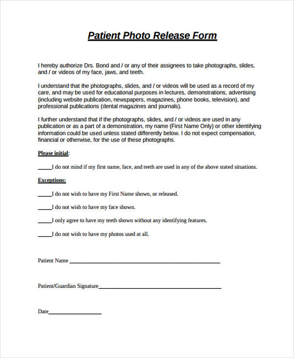free patient photo release form