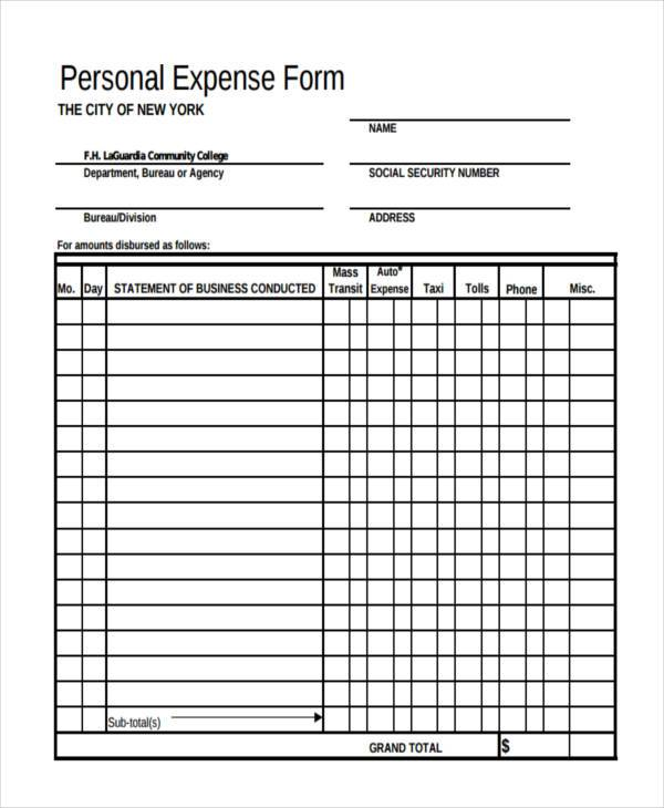 free personal expense form