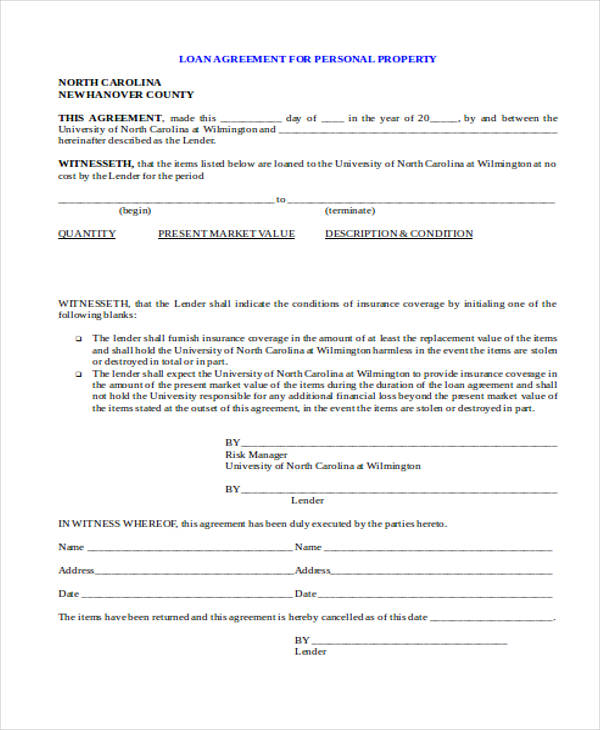 Free Personal Loan Agreement Form
