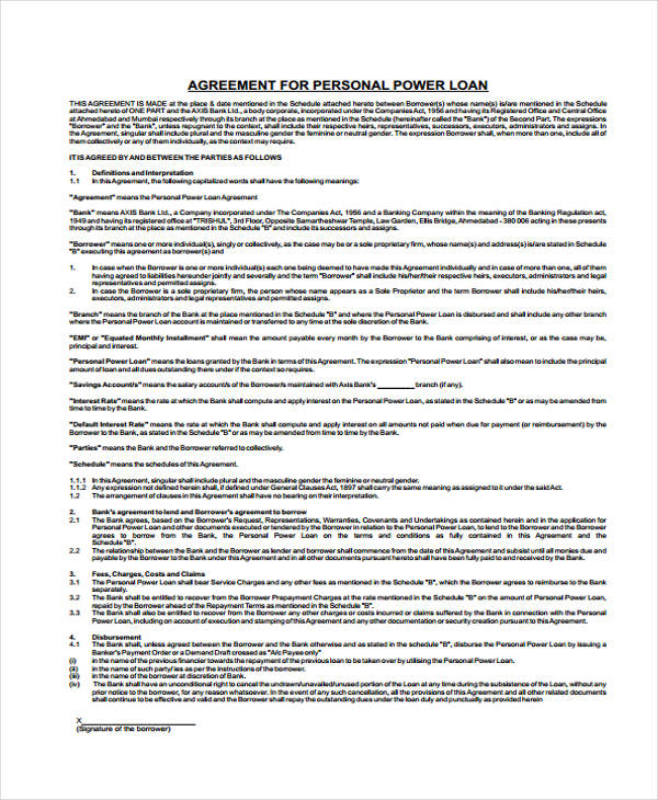 Loan Agreement Form Template – Free Personal Loan Agreement Form