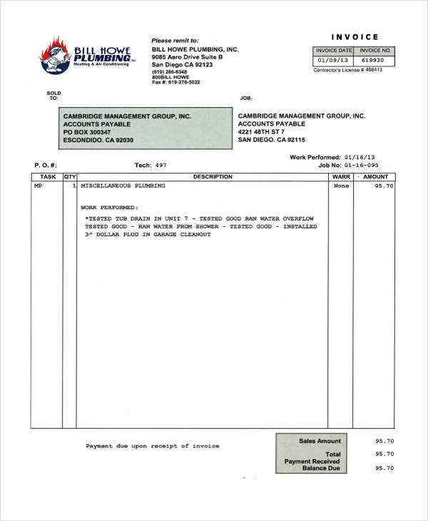 Invoice Form Examples