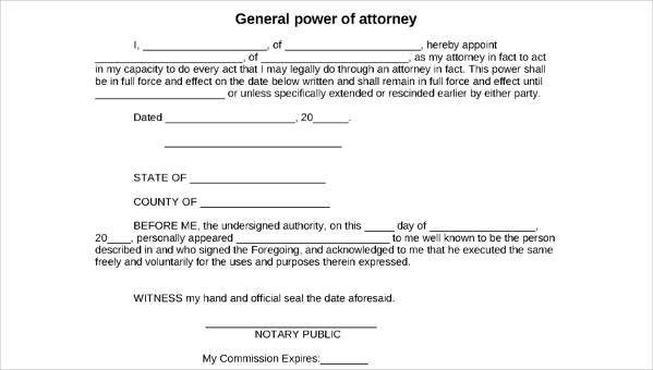 free power of attorney form template
