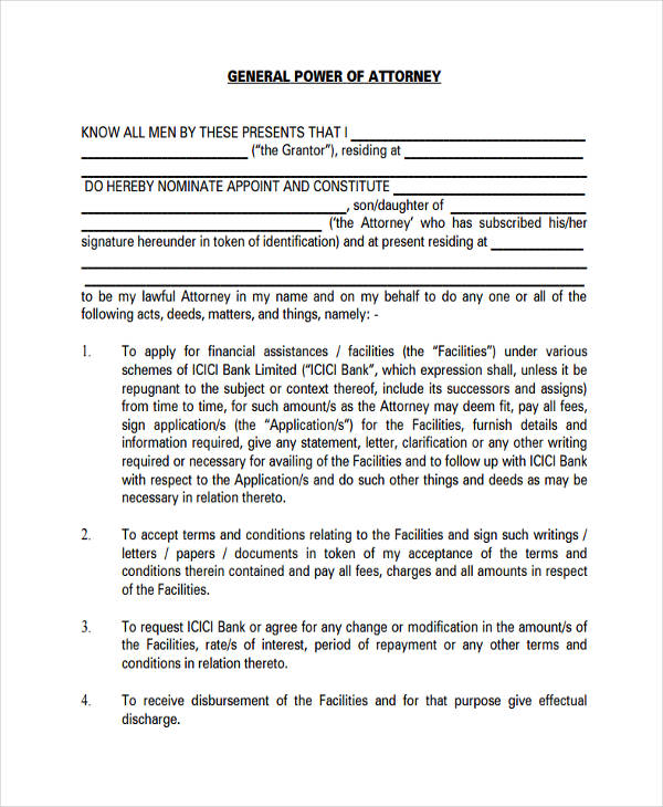 printable simple power of attorney form  FREE 10+ Printable Power of Attorney Forms | PDF