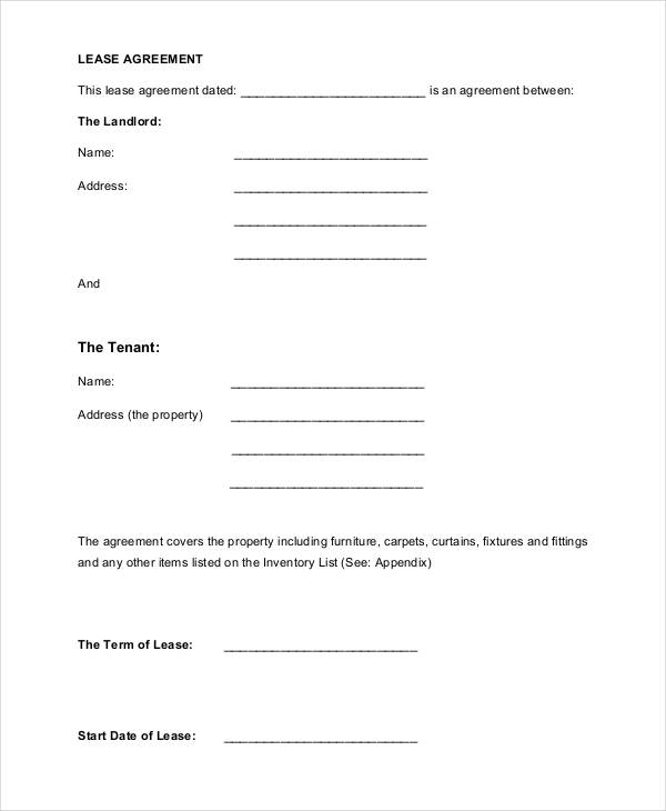 Free 60 Lease Agreement Form In Template Pdf