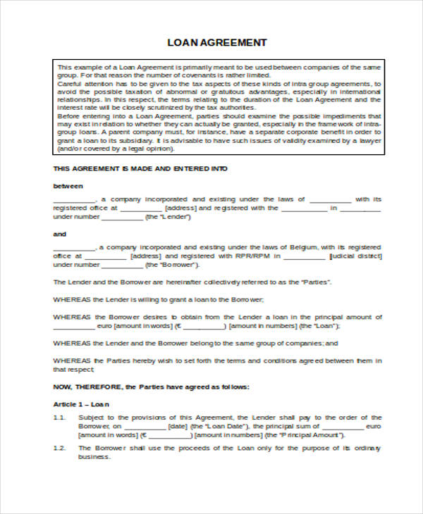 Free Printable Loan Agreement Form  Printable Loan Agreement