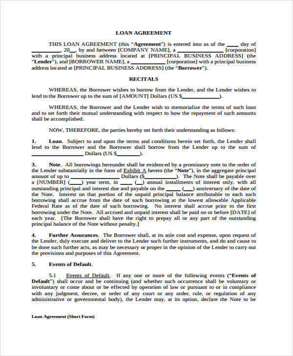 Free Printable Loan Agreement  Free Loan Agreement Template