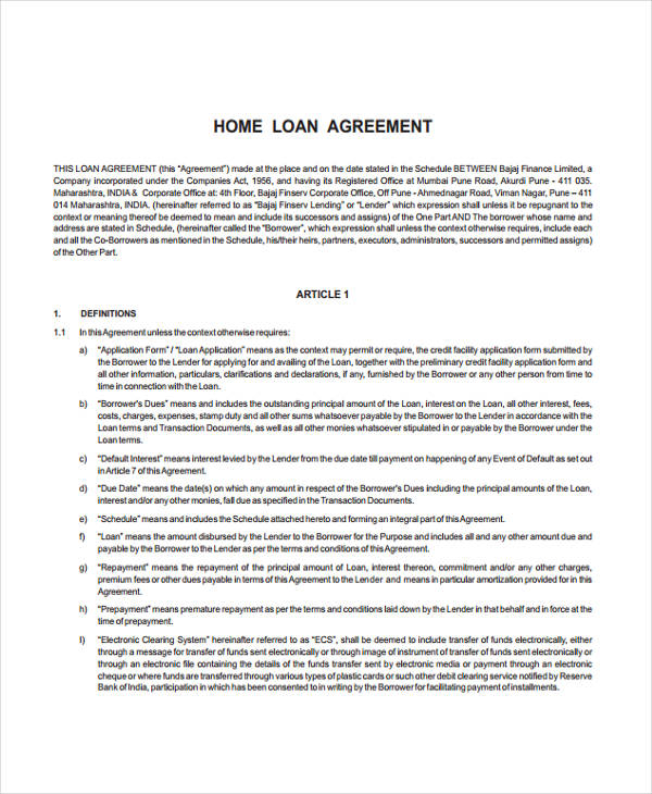 Loan Agreement Form Example 65 Free Documents in Word PDF – Printable Loan Agreement