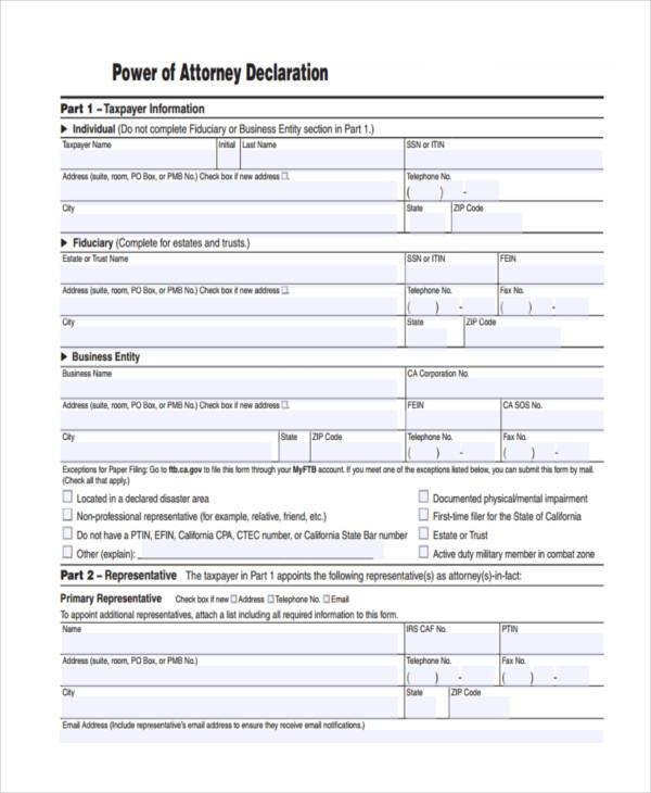 Power of Attorney Forms in PDF – Blank Power of Attorney Form