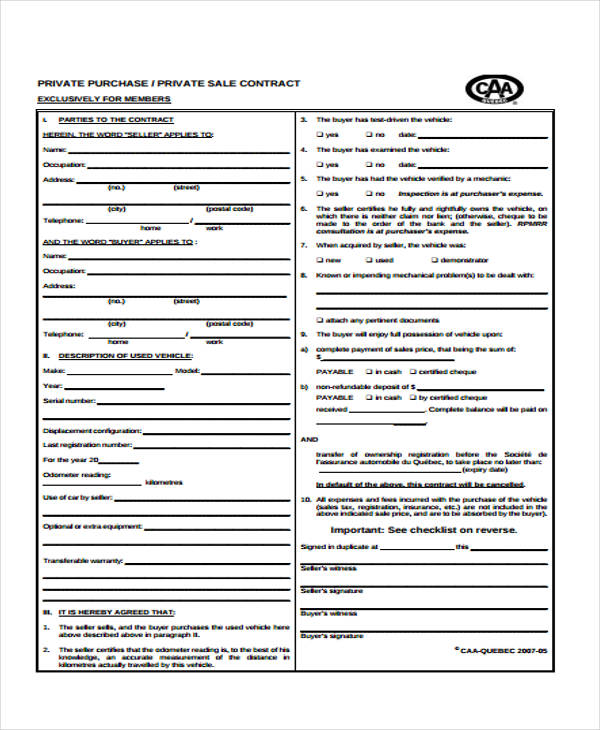 free private vehicle purchase agreement form