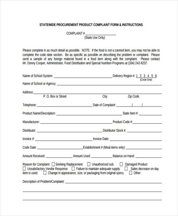 free product complaint form