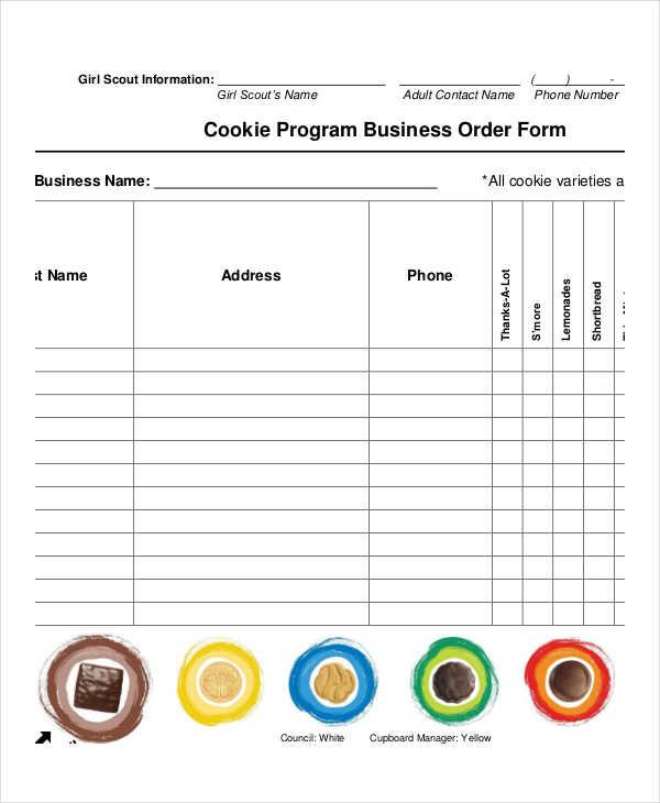 free program business order form