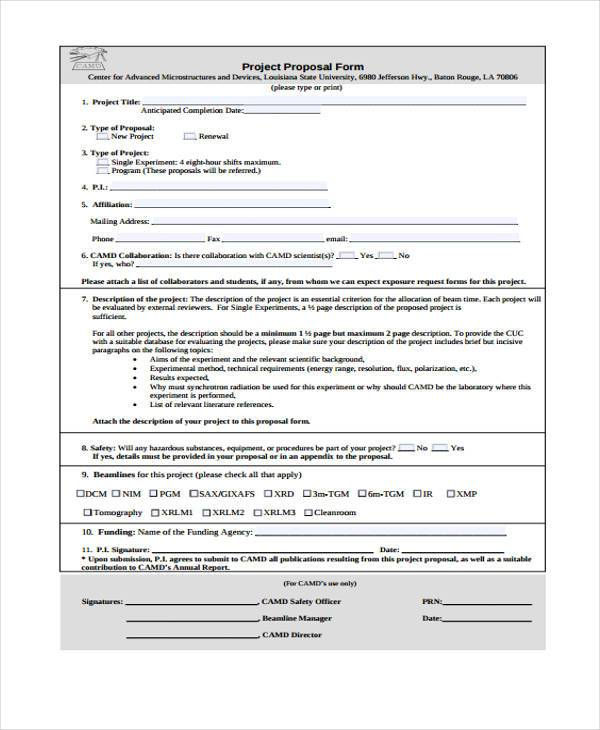 free project new proposal form