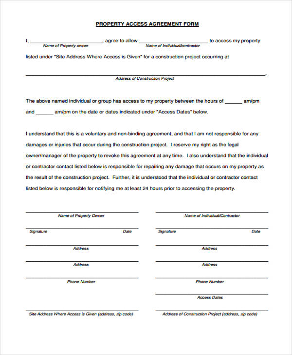 Property Agreement Form 11 Free Documents In Word Pdf
