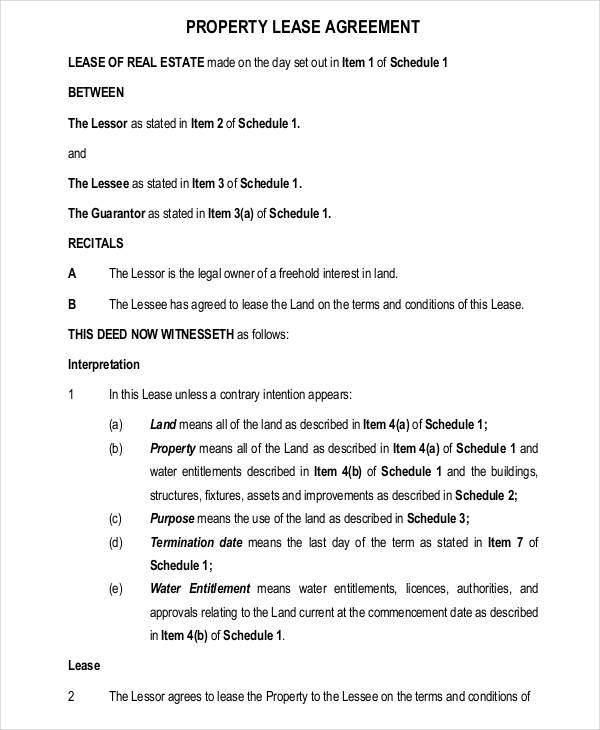 Lease Agreement Form Template – Free Property Lease Agreement