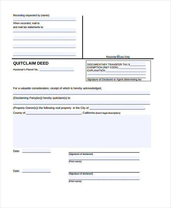 free quit claim deed form1