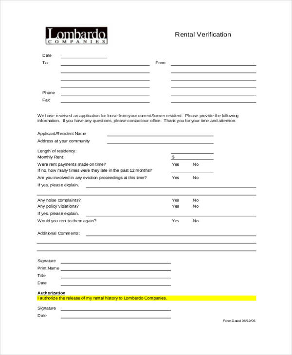 free rental verification form1