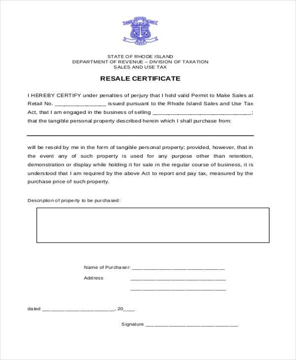 free resale certificate form