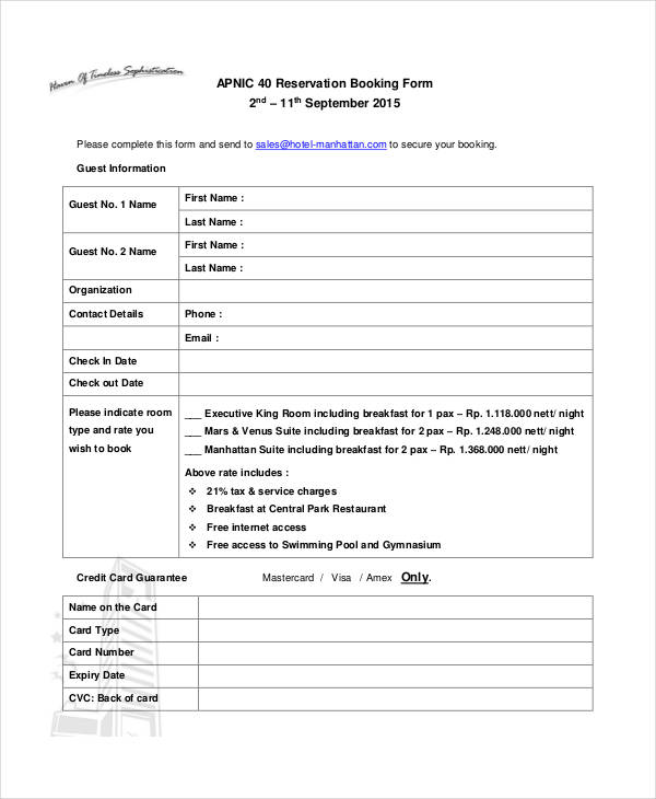 Free Reservation Booking Form
