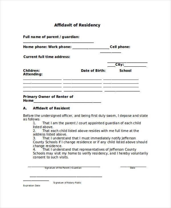 Affidavit Forms in Word – Free Affidavit Form