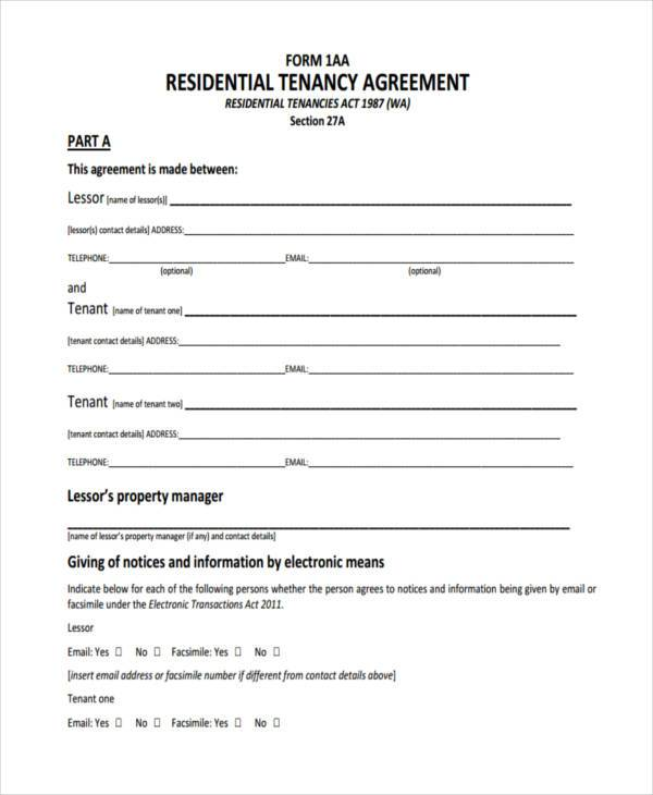free residential tenancy agreement form