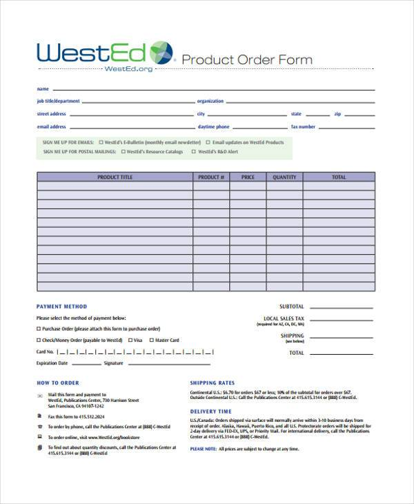 free sample product order form