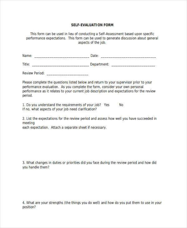 free self evaluation form printable1