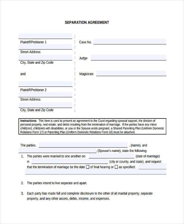 free separation agreement form1