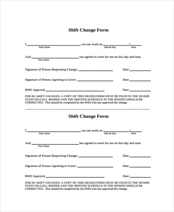 free shift change form