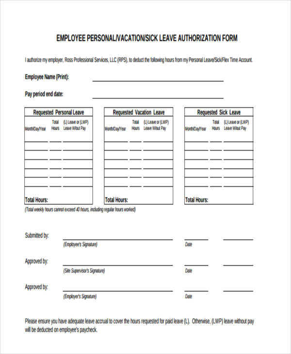10+ Leave Authorization Form Sample - Free Sample, Example Format