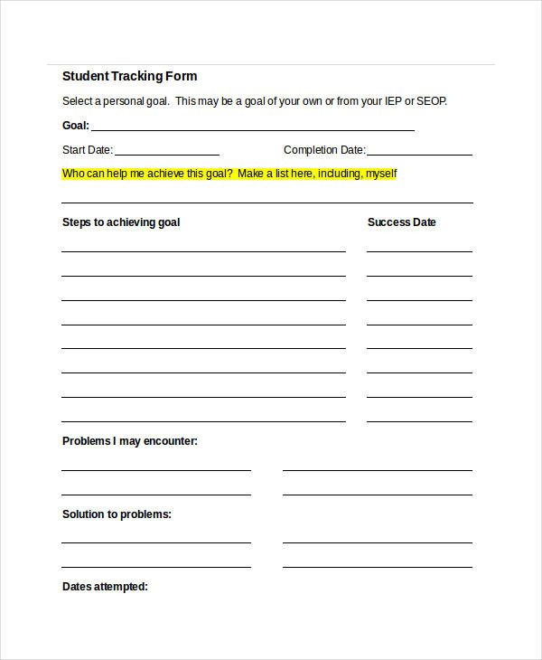 free student tracking form