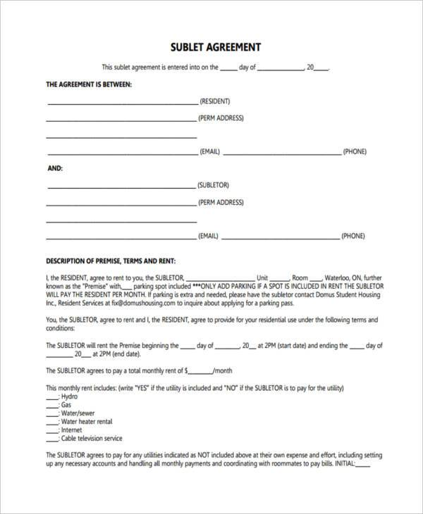 sublet agreement form