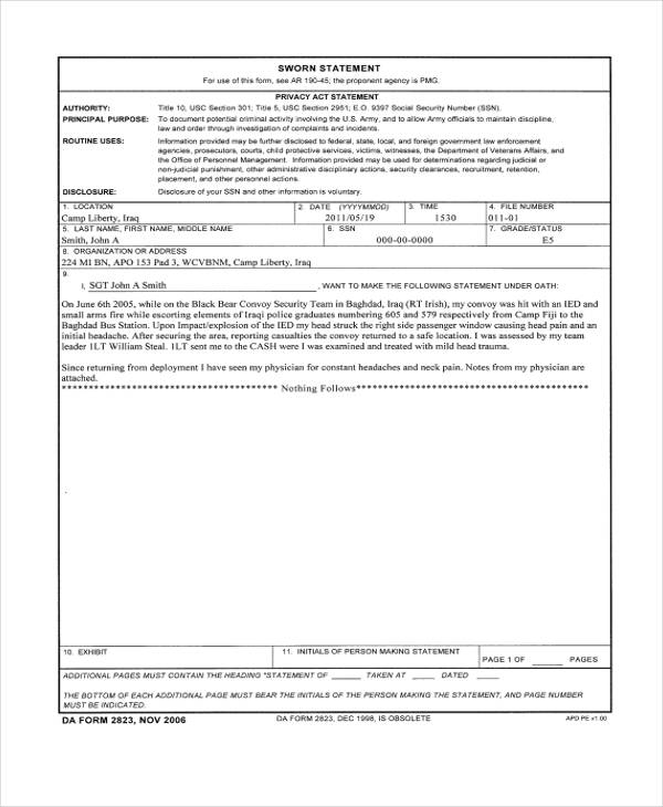 free sworn statement form