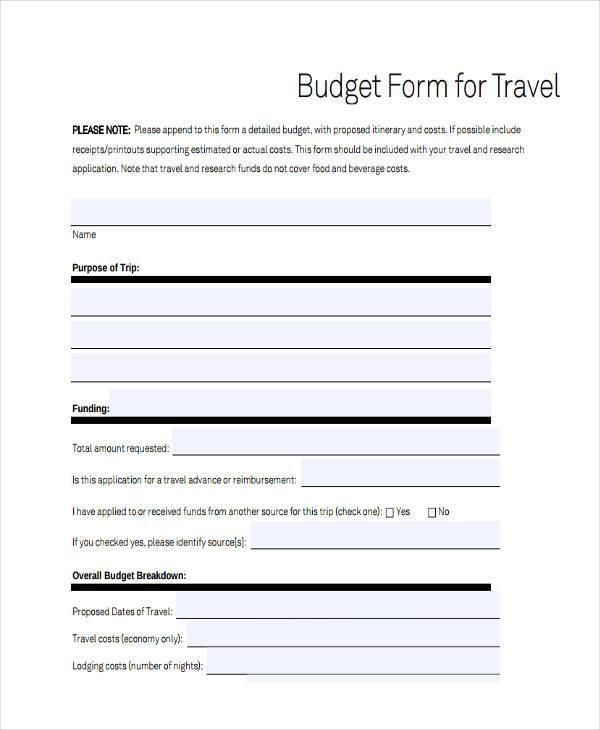 free travel budget form1