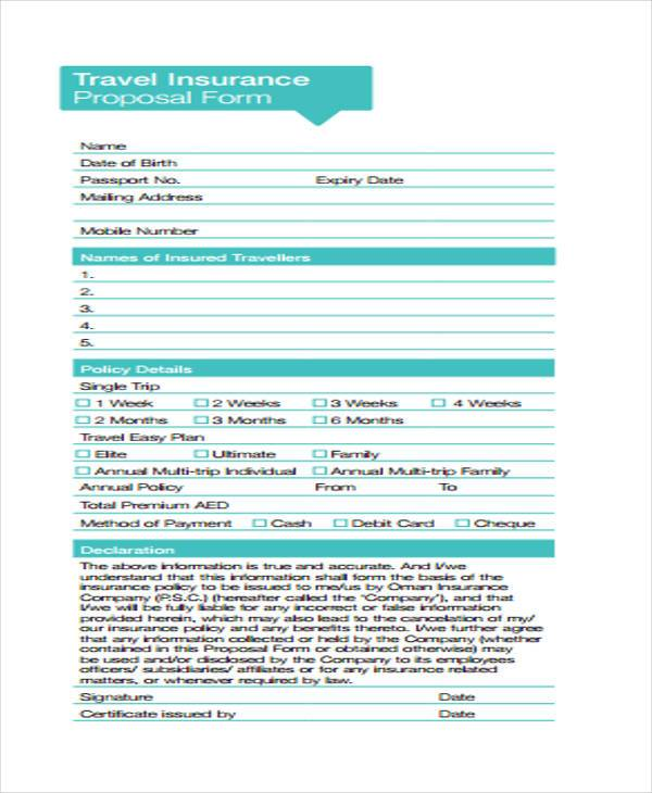 free travel insurance proposal form