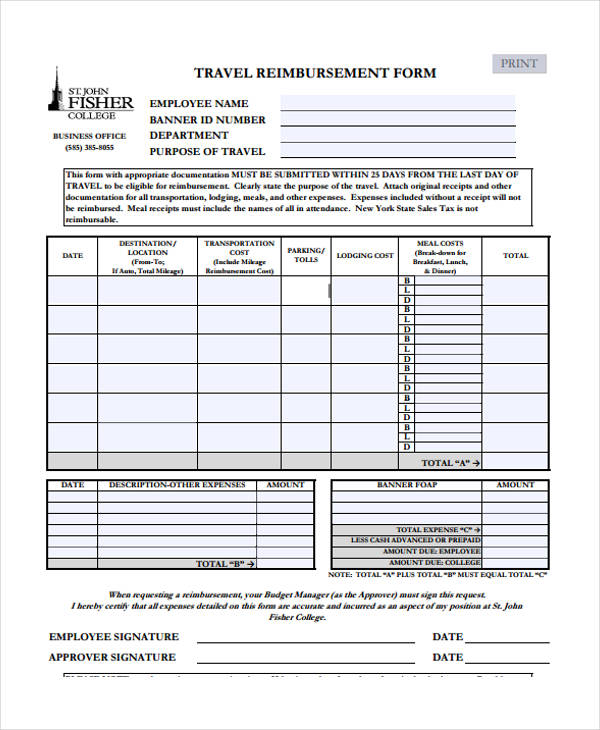 free travel reimbursement form