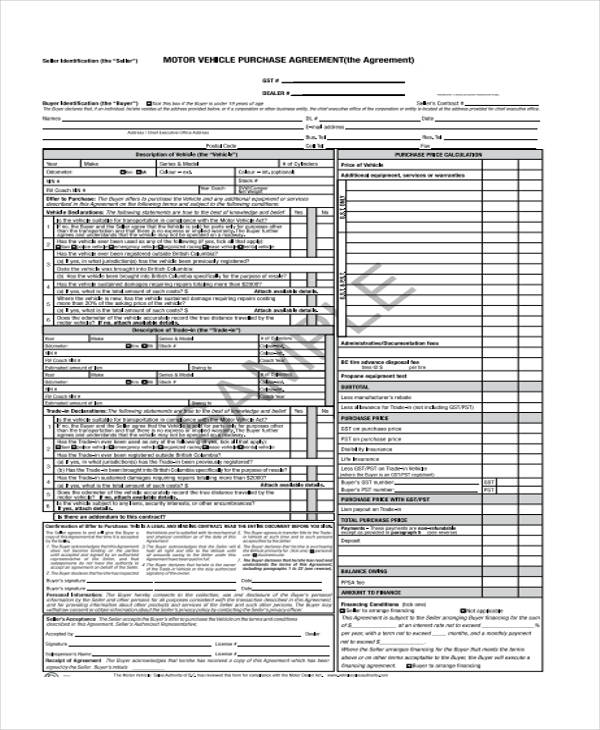 free vehicle purchase agreement form